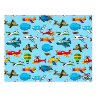 Niedliches Flugzeug-Hubschrauber-Luftschiff-Muster Postkarte