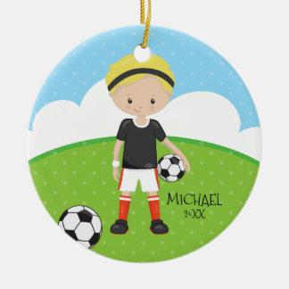 Niedliches Fußball-Spieler-personalisiertes Rundes Keramik Ornament