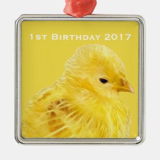 Niedliches gelbes Baby Küken Silbernes Ornament