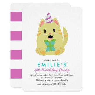 Niedliches gelbes Katzen-Kindergeburtstag-Party Karte