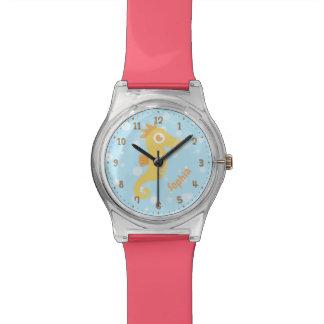 Niedliches gelbes Seepferd und Blasen-Kinderuhr Armbanduhr