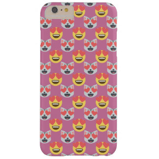 Niedliches Girly In-Liebe Herz-Katze Emoji Muster Barely There iPhone 6 Plus Hülle