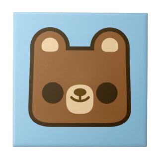 Niedliches glückliches Bärn-Gesicht auf Blau Fliese