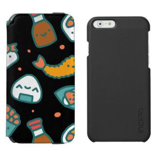 Niedliches glückliches nahtloses Sushimuster auf Incipio Watson™ iPhone 6 Geldbörsen Hülle