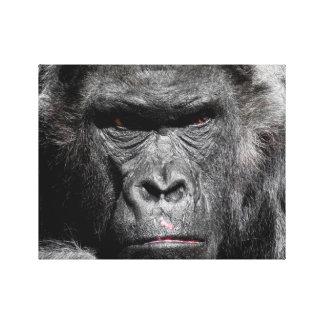 Niedliches Gorilla-Gesicht, das bedacht Leinwanddruck