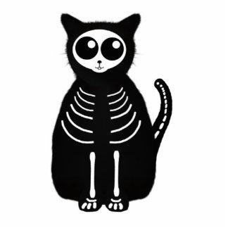 Niedliches Halloween-Cartoon-Katzen-Skelett Freistehende Fotoskulptur