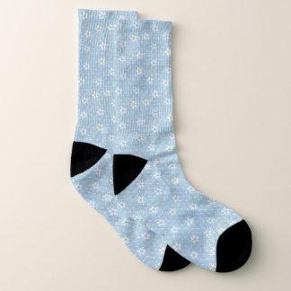 Niedliches hellblaues verblaßtes Denim mit Blumen Socken