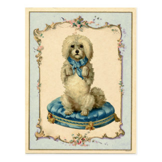 Niedliches Hundeblaues Kissen-Vintage Wiedergabe Postkarte