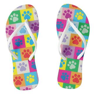 Niedliches Hundetatzen-Patchwork-Muster Flip Flops