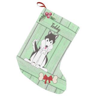 Niedliches Junge Huskie Hundegrün-hölzernes Kleiner Weihnachtsstrumpf