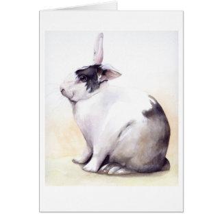 Niedliches Kaninchen gemalt in der Wasserfarbe Karte
