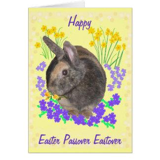 Niedliches Kaninchen und Blumen Ostern, Karte