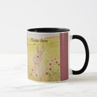 Niedliches Kaninchen, Wildblumen Tasse