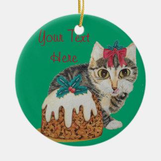 niedliches Kätzchen grauer Tabby, der Rundes Keramik Ornament