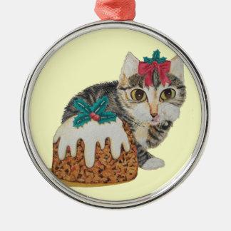 niedliches Kätzchen grauer Tabby, der Rundes Silberfarbenes Ornament
