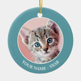 Niedliches Kätzchen mit blauen Augen Keramik Ornament