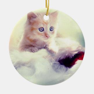 Niedliches Kätzchen-runde Weihnachtsdekoration Keramik Ornament