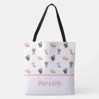 Niedliches Katzen-Muster | personalisiert Tasche