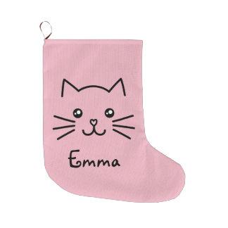 Niedliches Kawaii Kätzchen-Katzen-Gesicht mit rosa Großer Weihnachtsstrumpf