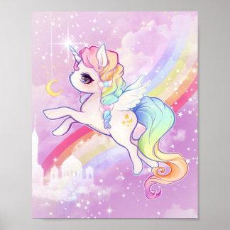 Niedliches kawaii Pastellunicorn mit Regenbogen Poster