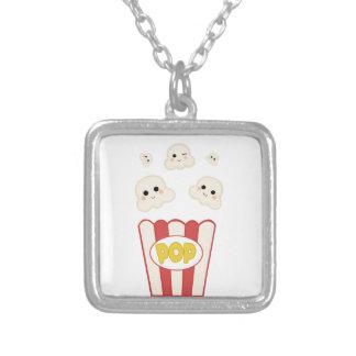 Niedliches Kawaii Popcorn Versilberte Kette