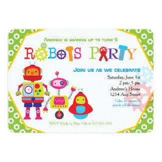 Niedliches Kindergeburtstag-Party-Roboter-Grün 12,7 X 17,8 Cm Einladungskarte