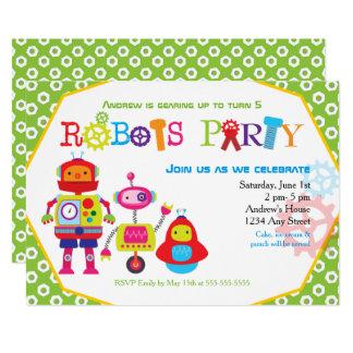 Niedliches Kindergeburtstag-Party-Roboter-Grün Karte