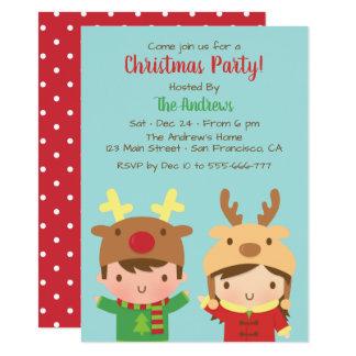 Niedliches Kinderren-Geweih-Hut-WeihnachtsParty Karte