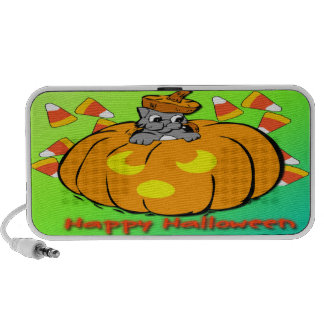 Niedliches Kitty-Halloween-Kürbis-Gekritzel Mini Lautsprecher