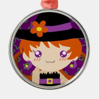 Niedliches kleines Redhead-Hexe-Mädchen Rundes Silberfarbenes Ornament