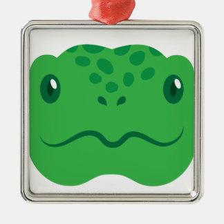 niedliches kleines Schildkrötenschildkrötegesicht Silbernes Ornament