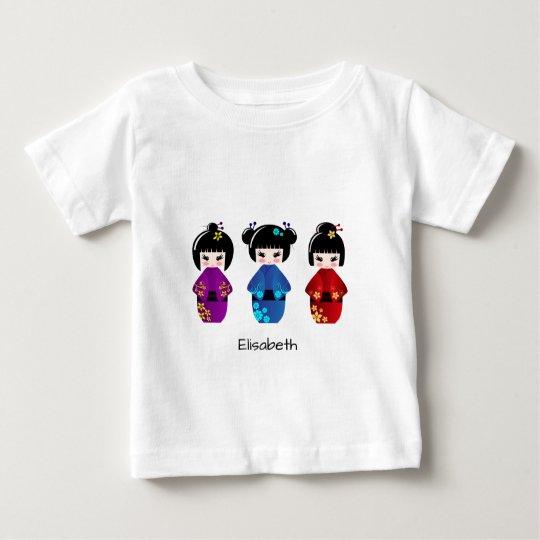 Niedliches kokeshi Puppen-Cartoonnamen-Baby-Shirt Baby T-shirt