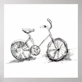 Niedliches künstlerisches Fahrrad-Zeichnen Poster