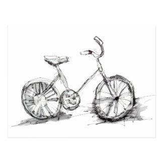 Niedliches künstlerisches Fahrrad-Zeichnen Postkarte