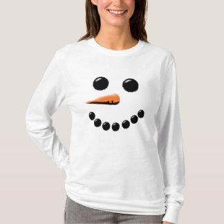 Niedliches lächelndes Snowman-Gesichts-festliches T-Shirt
