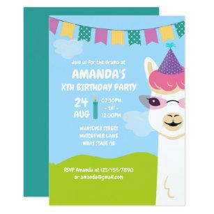 Niedliches Lama Themed Kindergeburtstag Party Einladung