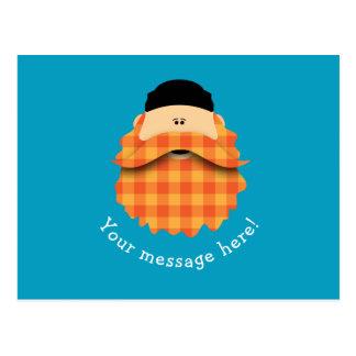 Niedliches Land-karierter heller orange bärtiger Postkarte