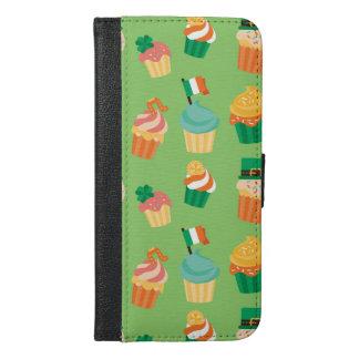 Niedliches lustiges grünes orange Kuchenmuster St iPhone 6/6s Plus Geldbeutel Hülle