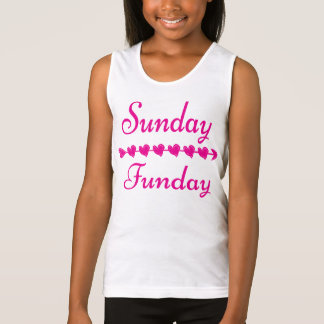 Niedliches lustiges rosa Herz Sonntags Funday Tank Top