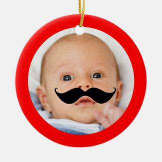 Niedliches lustiges Schnurrbart-Baby-Foto wenig Keramik Ornament