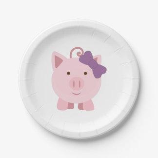 Niedliches Mädchen-Schwein Pappteller