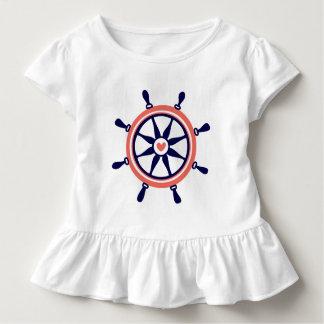 Niedliches Marine-Blau u. Orang Seeboots-Rad Kleinkind T-shirt