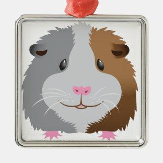 niedliches Meerschweinchengesicht Silbernes Ornament