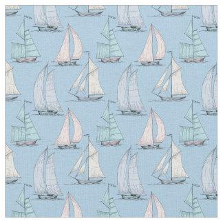 Niedliches Monogramm 2 des Segelboot-Muster-| Stoff