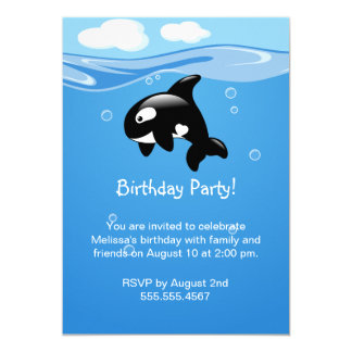 Niedliches Orca-Wal-Geburtstags-Party Karte