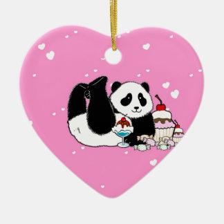 Niedliches Panda-Bärn-Picknick Keramik Ornament