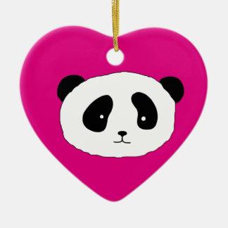 Niedliches Panda-Gesichtsmusterrosa Keramik Ornament
