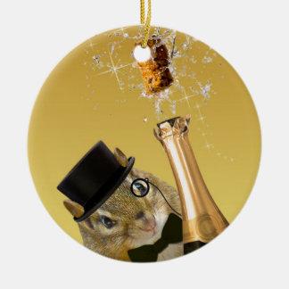 Niedliches Party des Chipmunk-Sylvesterabends Keramik Ornament