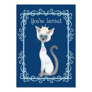 Niedliches Party Prinzessin-Siamese Kitty Cat 12,7 X 17,8 Cm Einladungskarte