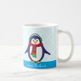 Niedliches Penguin-Weihnachten mit Ihrem Namen Kaffeetasse